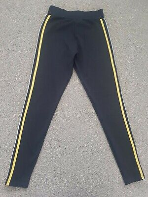New Look 915 Generation Girls Black Leggings With Ochre Piping Age 12-13 Years