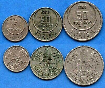 Tunisia Tunisie : Nice Lot of 3 Different Coins 5, 20, 50 Francs 1950 / 1954
