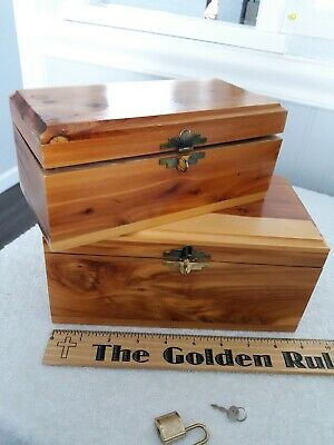 Two Small Cedar Quality Built Jewelry / Trinket Boxes & One Small Lock