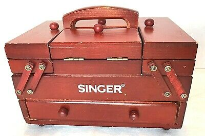 Vintage Singer Wooden Fold Out / Accordion Style Sewing Box Organizer Carrier
