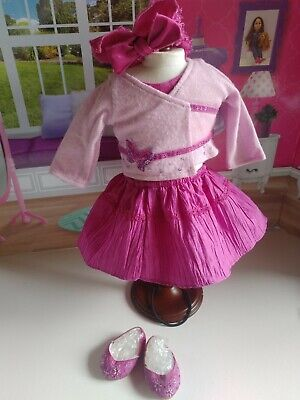 American Girl Doll Sweet Sequin Party Outfit Sweater Skirt Shawl Shoes Pink
