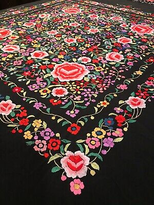 Piano Shawl Vintage Vibrant Embroidered Floral Black Chinese Silk