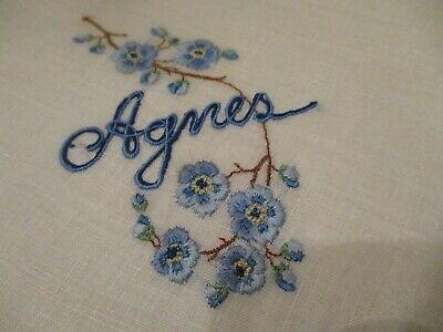 Vintage Hand Embroidered Blue flowers w Agnes on linen hanky