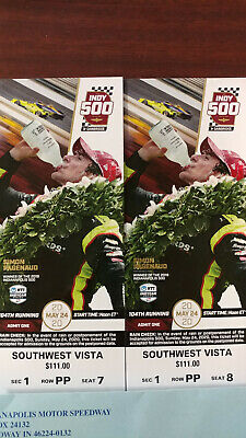 (2) 2020 Indy 500 Tickets South West Vista Section 1 Row PP Seats 7 & 8