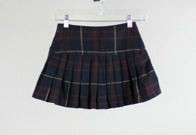 ABERCROMBIE & FITCH KIDS Girls Pleated Plaid Mini Skirt Size 10 Black Red Yellow