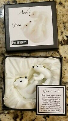 New Audri and Gena POLAR BEAR CUBS Handcrafted Glass Pier 1 Import  ~ Excellent
