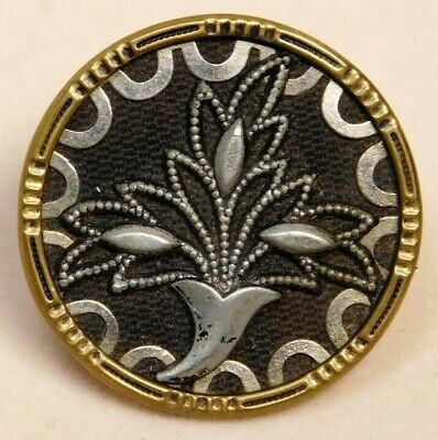 Antique BUTTON Large VICTORIAN Brass w a Fabric Back & Petwer Deco Leaf NICE! P2