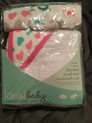 Ideal Baby By Aden & Anais Hooded Towel And Muslin Wash Cloth Set free shipping