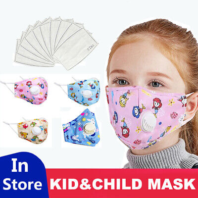 Cartoon Kids Face Cover With Pads Filters Washable Breathable Face Shield Child
