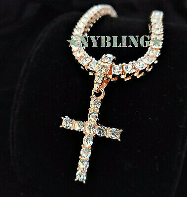Mens Tennis Chain Cross Pendant Choker ICED Necklace HipHop Jewelry Rose Gold IP