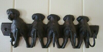 Cast Iron Rustic 5 Puppy Dog Key Coat Scarf Hat Wall Rack Tail Hooks