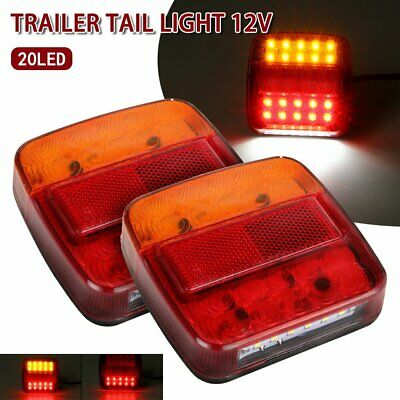 2x LED Square Tail light 12V trailer truck number taillight STOP/BRAKE lights