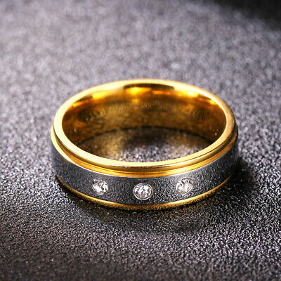 316L Stainless Steel 18K Gold Band Men Women's 6mm Jewelry AAA Cz Ring Size 5-10