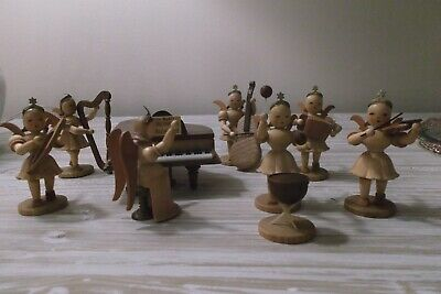 Vtg Lot Hand Carved Wood Angel Musicians & Instruments ~ German