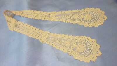 "19th Century Brussels Point De Gaz Bobbin Lace Lappett Ivory 22"" Long"