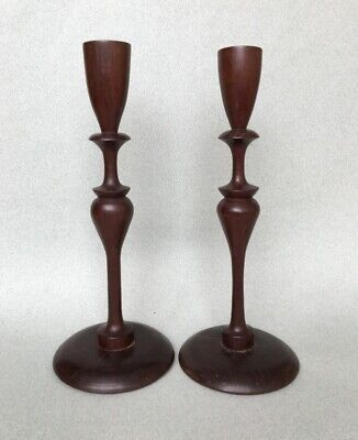 PAIR VINTAGE MAHOGANY CANDLESTICKS turned wooden candle holder