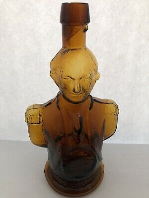 AMBER HAND BLOWN DRIPPY LIP GEORGE WASHINGTON SIMMONS CENTENNIAL BITTERS Bottle