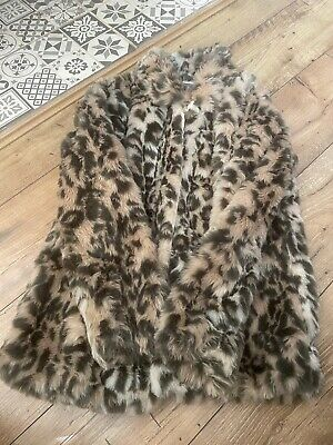 Girls Leopard Print Fur Coat Age 11-12
