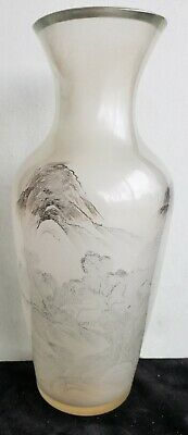 10 in Antique Scenic CHINESE Peking GLASS VASE, opaque Celadon, Hand Painted