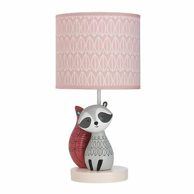 Lambs & Ivy Little Woodland Pink Raccoon Lamp with Shade & Bulb