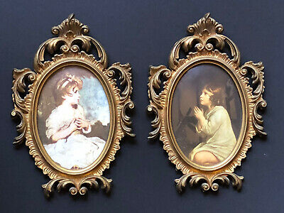 Vintage Framed GOLD ITALY Antique Frames Wall ITALIAN Convex CARVED ART Girls