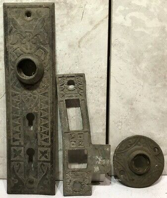 Antique Brass Victorian Eastlake Door Knob Ring Double Key Hole Lock Back Plate