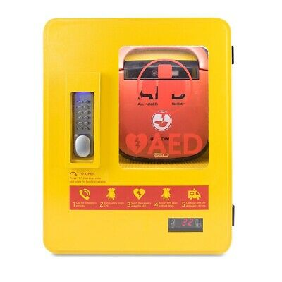 Defibrillator Yellow Outdoor Metal Wall AED Cabinet with Integrated Alarm