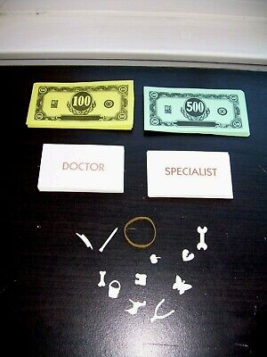 Operation Game Pieces 12 Body Parts Cards & Money