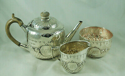 Victorian Silver Batchelors Tea Set Charles Boyton II London 1889 314g BGZX