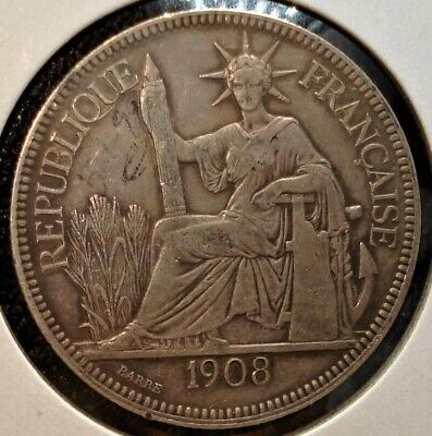 1908 A Silver Piastre Coin from French Indo-China