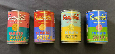 Campbell's Tomato Soup Andy Warhol 50th Anniversary Set of 4 Cans