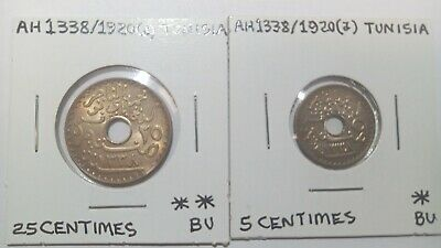 1338 / 1920 a Tunisia 5 &25 Centimes uncirculated coin(s)