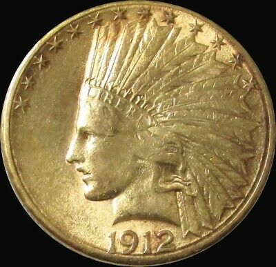 1912 S Gold United States $10 Indian Head Coin Philadelphia Mint