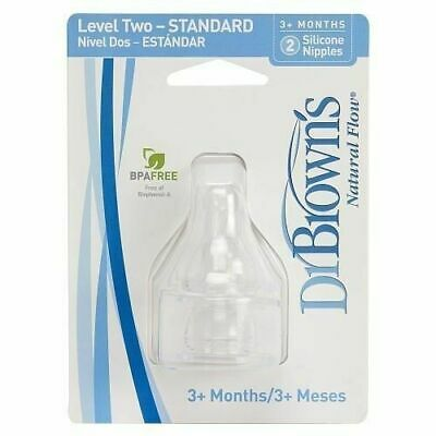 DR BROWNS - Natural Flow Silicone Nipples Clear 3 Months+ - 2 Nipples
