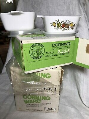 Three 1975 Corning Ware P-43-8, Petite Pan Sets, New In box,  Spice O' Life