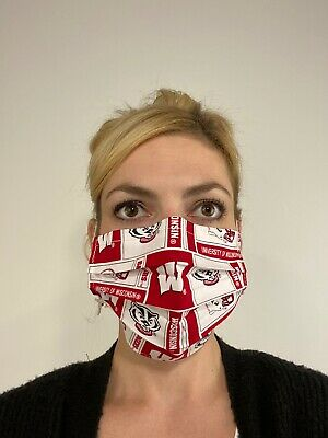 Wisconsin Badgers Cotton Face Mask Handmade Washable Reusable wire nose Reuse