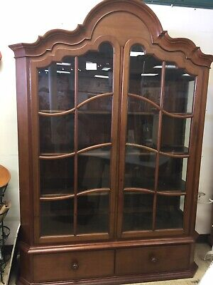 Antique c.1890's Victorian Wood Bookcase Display Cabinet