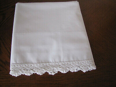 Vintage Single All White Pillowcase & White Crocheted Trim Work Exquisite