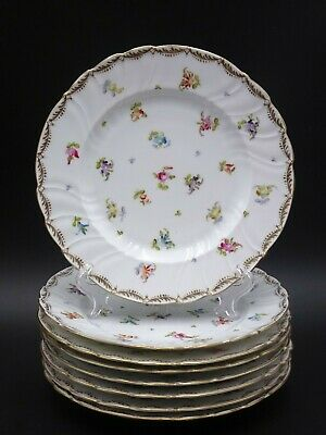"8 Antique Saxonia Dresden ""Scattered Flowers"" 8 1/2"" Salad Plates"