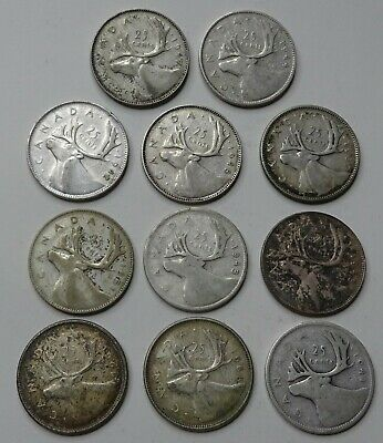 Lot of 11 - 1937-1968 Canadian Silver Quarters - No Reserve!