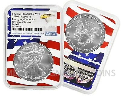2020 (P) $1 American Silver Eagle NGC MS69 Emergency Production Flagcore 1st Day