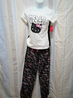 S Hello Kitty Pajama Pants Shirt Top White Black Pink Long Sleeve Soft Cotton