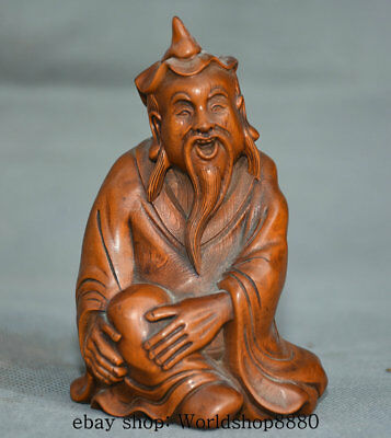 11CM Chinese Boxwood Wood Carving Old Man People Farmer Figure Statue Sculpture