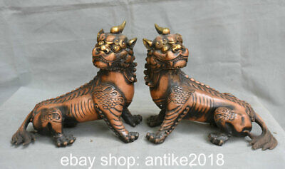 "9.6"" Old Chinese Copper Feng Shui Foo Dog Lion Unicorn Luck Statue Pair"