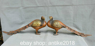 """15.2"""" Old Chinese Copper Feng Shui Peacock God Bird Feather Luck Statue Pair"""