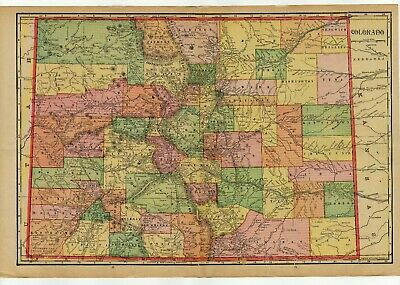 """Antique 1911 County Map of Colorado, Published by George F. Cram, 22"""" x 14"""""""