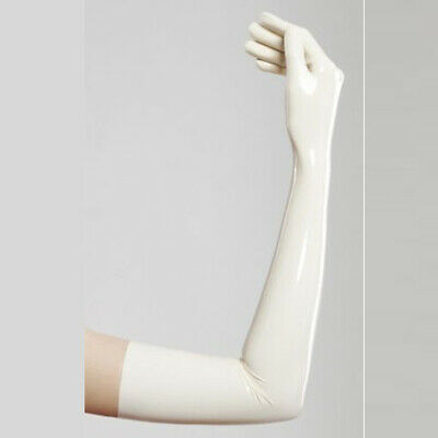 100% Pure Latex Rubber White Five fingers Gloves Tight  Handmade 0.4mm S-XXL