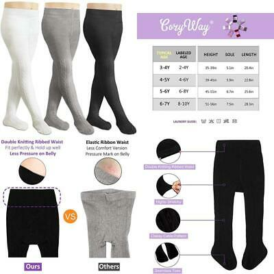 Cozyway Girls Cable Tights Cotton Cable Knit Footed Pantyhose Baby Toddler Girls