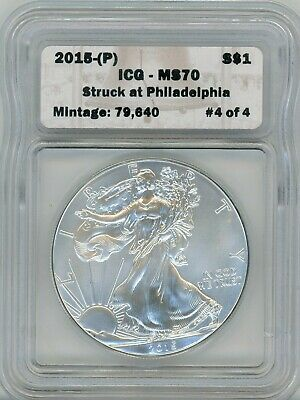2015-(P) American Eagle Silver $1, MS 70 Struck at Philadelphia #4 of 4 - ICG