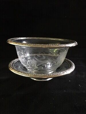 International Sterling Prelude Etched Glass Bowl Dish .925 Sterling Silver Rim